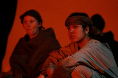 "Hebe Reilly as Labourer #1 and Alyssa Marie as Labourer #2 in ""A Tainted Dawn"" (2010). Photo by Joanna Woodrow"