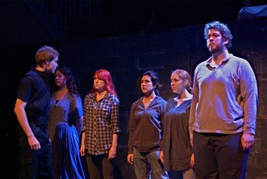 "Left to right: Matt Harrison, Lydia Watkins, Kerri Burton, Alyssa Marie Warncke, Victoria Moloney and Alexious Ioannou in ""Within the Wall"" (2011). Photo by Steven Owens"